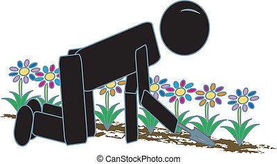 giardinaggio, figura bastone