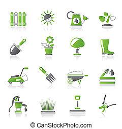 giardinaggio, oggetti, attrezzi, icone