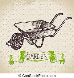 giardinaggio, schizzo, disegno, fondo., vendemmia, mano, disegnato