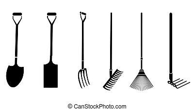 giardinaggio, vettore, attrezzi