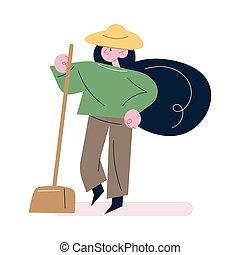 giardiniere, pala, lavorativo, vestiti, cappello, standing, donna
