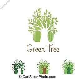 giardino, eco, concept., albero, vettore, verde, logotipo, icon., design.