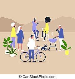 giardino, festa, millennials, assemblea, blocco, insieme, life., cortile posteriore, comunità, moderno