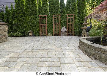 giardino, lastricatore, decorazione, cortile posteriore, stagno, patio