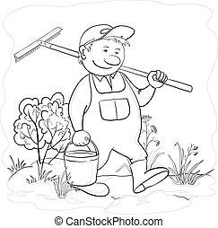giardino, rastrello, contorno, giardiniere