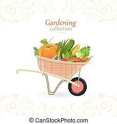giardino, vendemmia, verdura, carrello, disegno, tuo