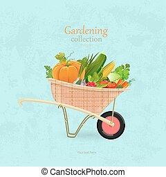 giardino, vendemmia, verdura, disegno, carriola, tuo