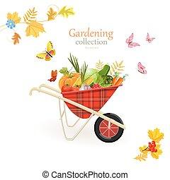 giardino, verdura, disegno, retro, carriola, tuo