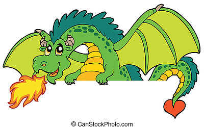 gigante, appostando, drago verde