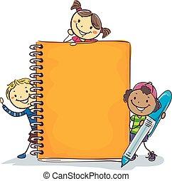 gigante, bambini, penna, quaderno, bastone