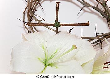 giglio, pasqua, bianco, corona, spine, crocifisso