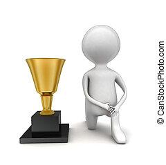 ginocchio, trofeo, dorato, uomo, 3d, concetto, prossimo