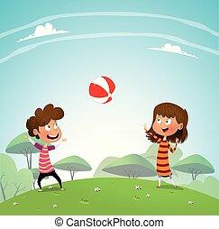 giocando palla, parco, due bambini