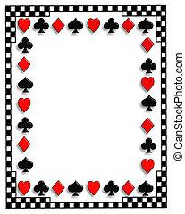 giocando poker, bordo, cartelle
