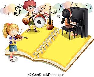 giocando strumento musicale, bambini