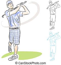 giocatore, altalene, golf