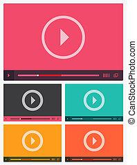 giocatore, appartamento, moderno, video, interface.