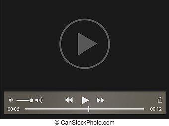 giocatore, apps, vettore, web, mobile, video, illustrazione, interfaccia, sagoma