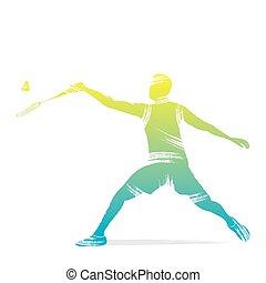 giocatore, badminton, disegno