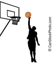 giocatore, bianco, pallacanestro, silhouette, fondo