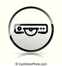 giocatore, bianco, video, fondo, icona
