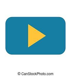 giocatore, bottone, video, sfondo bianco