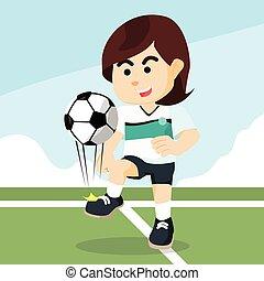 giocatore, calcio, manipolazione, femmina