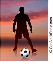 giocatore, calcio, sera, fondo