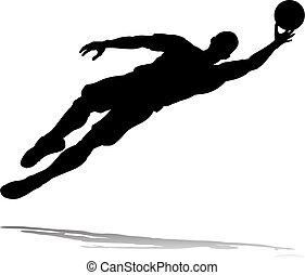 giocatore, calcio, silhouette, football