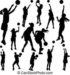 giocatore, donna, pallacanestro