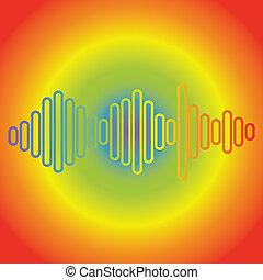 giocatore, fondo., musica, onda, illustration., colorito, equalizzatore, elemento, arcobaleno
