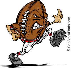 giocatore, football americano, cartone animato