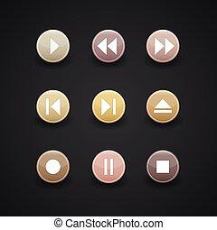 giocatore, media, icone fotoricettore