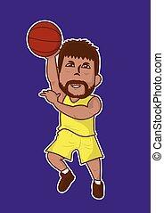 giocatore, pallacanestro, cartone animato, icona
