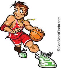 giocatore, pallacanestro, caucasico