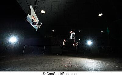 giocatore, pallacanestro, notte