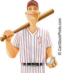 giocatore, pipistrello, palla, baseball