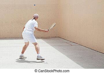 giocatore, racquetball, anziano