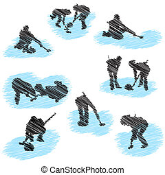 giocatore, silhouette, set, grunge, arricciamento