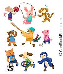giocatore, sport, cartone animato, animale