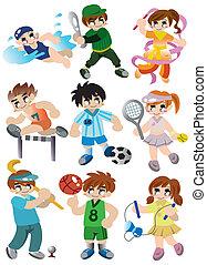 giocatore, sport, set, cartone animato, icona