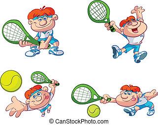 giocatore, tennis, cartone animato, collezione