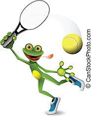 giocatore, tennis, rana