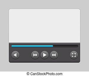 giocatore, vettore, video, illustration., interface.