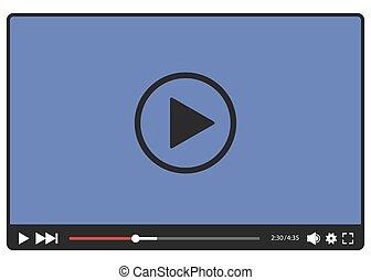 giocatore video, vettore, web