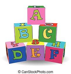giocattoli, colorito, lettera, cubi