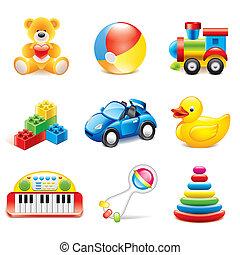 giocattoli, vettore, set, colorito, icone