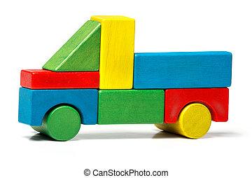 giocattolo, automobile legno, sopra, blocchi, multicolor, fondo, camion, bianco, trasporto