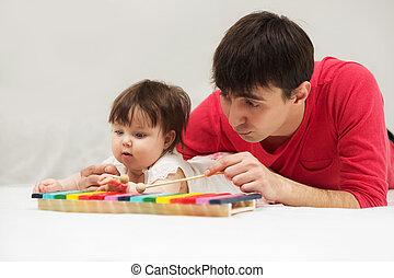 giocattolo, coperta, xilofono, padre, bambino, casa, ragazza, gioco