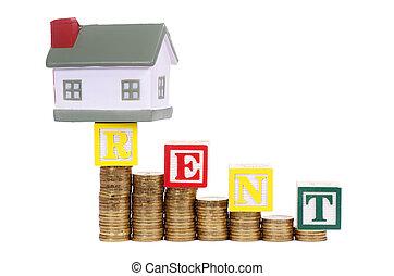 giocattolo, forma, casa, monete, diagramma, piccolo